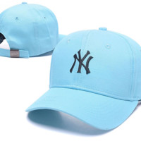 Light Blue NY Embroidered Baseball Cap Hat