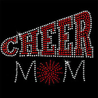 Black VNeck Fitted Red BLING Cheer Mom Tee (Also in royal blue)