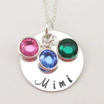 Sterling Silver Mimi Necklace, Personalized Silver Jewelry, Swarovski Birthstones, Mothers Day gift for Mimi, Grandma, Mimi, Oma or Gigi