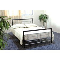 Twin Size Metal Platform Bed Frame In Black & Silver With Headboard & Footboard