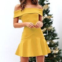 Fashion New Solid Color Strapless Short sleeve Dress Women Yellow