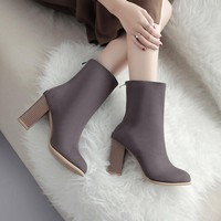 2018 autumn and winter new pointed boots British retro Martin boots elastic boots uio90