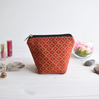 Red charger bag with zipper, Charger case, Cosmetic pouch, Make Up Pouch, Toiletery bag, Project bag, Travel bag, Coin Purse