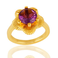 14k Yellow Gold Plated Sterling Silver Amethyst Gemstone Prong Set Cocktail Ring