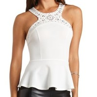 Jeweled Racer Front Peplum Top by Charlotte Russe - White