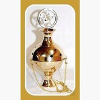 Pentagram Crowned Hanging Brass Incense Burner Censer