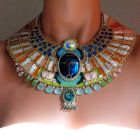 Aether - Egyptian Scarab Necklace, Bead Embroidered Statement Necklace, Egyptian Collar Necklace