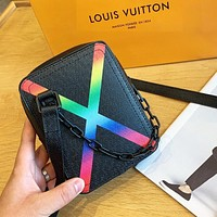Louis Vuitton LV Women Men Personality Leather Box Shoulder Bag Crossbody Satchel