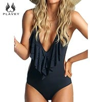 Sexy Plunging Neck Flouncing High Cut Trikini Push Up Monokini Bathing Swim Suit For Women Thong Swimwear One Piece Swimsuit
