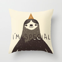 sloth(light) Throw Pillow by Louis Roskosch