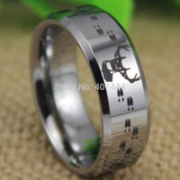USA UK Canada Russia Brazil Hot Sales 8MM Hunting Buck&Deer Tracks Silver Beveled Lord Men's Tungsten Wedding Ring
