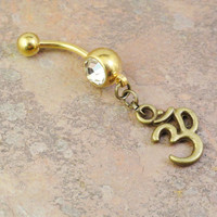 Gold Ohm Om Belly Button Ring Crystal Navel Jewelry
