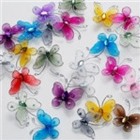 Nylon Organza Butterflies, 1-inch, 12-Piece, Light Blue