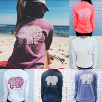 2016 Trending Fashion Summer (5-color) Elephant Printed Women Long Sleeve Top Women Tank Vest T-Shirt Top