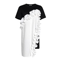 2020 new women's contrast color stitching lace irregular short sleeve dress