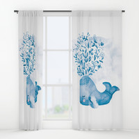 Cute Watercolor Whale Window Curtains by noondaydesign