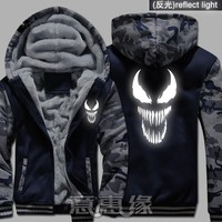 New Film Winter Men Women Spider-Man venom hoodie reflect light Thick Hooded Warm Jacket Coat