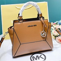 MK Fashion New Solid Color Leather Shopping Leisure Shoulder Bag Handbag Crossbody Bag Brown