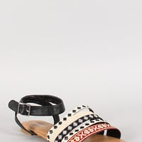 Bamboo Strappy Woven Buckle Open Toe Flat Sandal