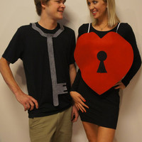 Key to Her Heart Couples Halloween Costume Pun play on words Adult Haloween costume for men & women fits any size, plus size, sexy or simple