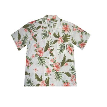 KY's Mens White Button Down Hawaiian Shirt with Coral Plumeria and Hibiscus