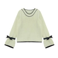 Knitted Flare Sleeve with Bow Detail Sweater