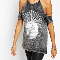 ASOS PETITE T-Shirt With Halter Neck In Acid Wash With Mind Craft Print