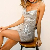 Fashion Casual Women Crisscross Back Cowl Neck Metallic Cami Mini Dress