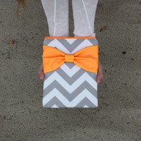 Neon iPad Mini, Kindle, Nook, eReader Case - Gray and White Chevron Stripes with Dayglo Orange Bow and Back Zipper Pocket - Padded