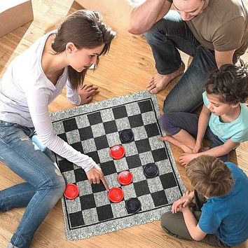 3in1 Double-Sided Checkers Rug Indoor Outdoor Portable Jumbo Board Game Carpet Reversible Checkered Mat Check Blanket Home Decor (1 set)