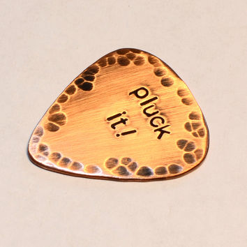 Pluck It Rustic Copper Guitar Pick with Patina and Hammered Pattern