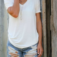 Sunday Brunch Basic Ivory V-Neck Tee