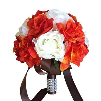 Wedding Bouquet - Ivory and Orange Bouquet Quality Silk Roses - Perfect for Fall Weddings