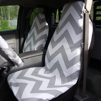 1 Set of Grey/white Chevron  Print  Car Seat Covers and  Steering Wheel Cover Custom Made.