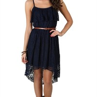 All Over Lace High Low Dress with Ruffle Bust