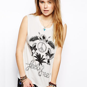 White Floral & Trees Print Muscle Crop Tee