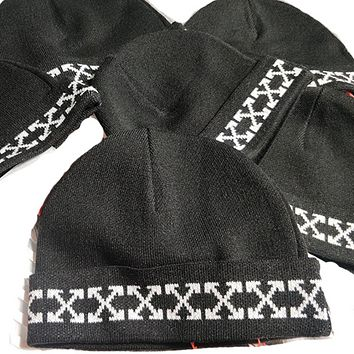 Off White Fashion New Cross Arrow Print Women Men Keep Warm Knitted Hat Cap Black