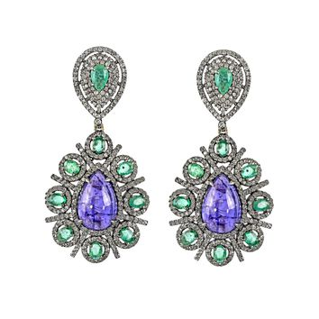 18.19tcw Pear Tanzanite & Emeralds with Diamonds in 925 Sterling Silver Tear Drop Dangle Earrings
