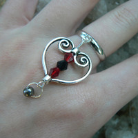 gothic heart ring scroll heart red and black crystals in gothic gypsy boho hippie gothic and fantasy style