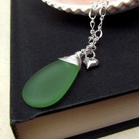Green Sea Glass Necklace: Fine Silver Wire Wrapped Teardrop Pendant Beach Jewelry Heart Charm Chunky Chain