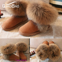 FREE SHIPPING,Genuine Leather + Real Raccoon Boots 25-40 size snow boots fur boots winter women's shoes ,Designer Brand Shoes