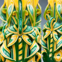 Carved candles - Green and Yellow - Unique candle
