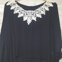 Crochet Bell Sleeve in Black