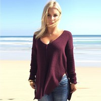 Deep V-Neck Knit Sweater - Red/Black