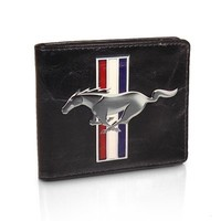 Ford Mustang Logo Black Leather Wallet, Official Licensed