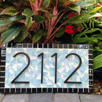 Mosaic Address Sign, Beach House, Outdoor Address Plaque, Mosaic, Custom House Number Sign