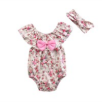 2pcs Baby Lace Bow Set Newborn Toddler Baby Girl Clothes Lace Floral Romper Outfits