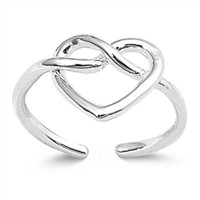 Sterling Silver Heart Knot Toe Ring/ Knuckle/ Mid-Finger 9MM