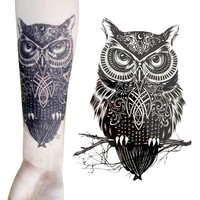 1 sheet Owl Temporary Tattoo Black Waterproof Fake Tattoo Stick Paste Transfer Tattoo Decals Body Art Tattoo Sticker Z3