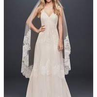 Banded Eyelash Lace Layered Wedding Dress | David's Bridal